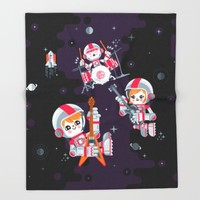 Space Rock Throw Blanket by Chobopop