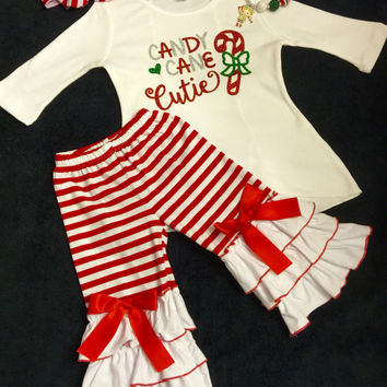 Christmas Outfit, Christmas Outfit for Girls, Girls Candy Cane Cutie Christmas Outfit, Girl Christmas Outfit, Toddler Christmas Outfit