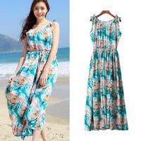 High Waist Sleeveless Chiffon Long Dress