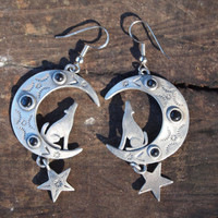 Howling Wolf Crescent Moon Earrings
