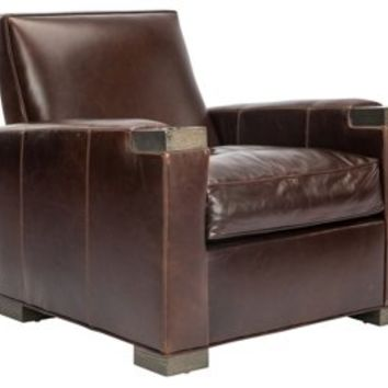 Mulholland Leather Chair, Espresso, Club Chairs