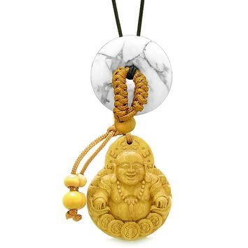 Magic Happy Buddha Car Charm or Home Decor White Howlite Lucky Coin Donut Protection Powers Amulet