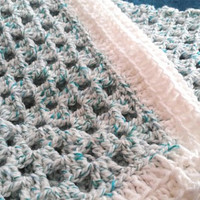 "SALE Granny Square White and Turquoise Baby Blanket Wool Blend 30"" x 30"" READY to SHIP"