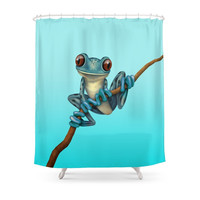 Society6 Cute Blue Tree Frog On A Branch Shower Curtain