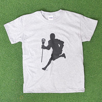 Gray Lacrosse Player Silhouette Tee - Boys & Men | zulily