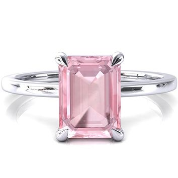 Lyla Emerald Pink Sapphire 4 Claw Prong Single Rail Solitaire Ring