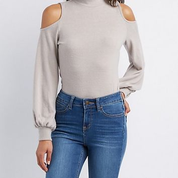 Cold Shoulder Mock Neck Hacci Top | Charlotte Russe