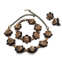 Copper Flower Jewelry Set Necklace, Bracelet and Earrings
