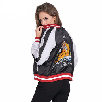 Unpadded satin embroidery tiger bomber jacket