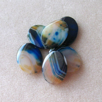 Blue Agate Gemstone Pendants, Jewelry Making Beads, Twist Oval Pendants, Agate Pendants, Craft Supplies, Bead Supply, Jewelry Design