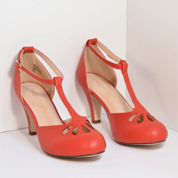 Red T-Strap Cut Out Kitten Heels