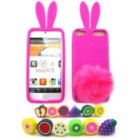 Apple iPod Touch 5 (iTouch 5th Generation) Bunny Soft Skin Case + 1 Fruity Dust Plug, Hot Pink [Cellular Connection Packaging]