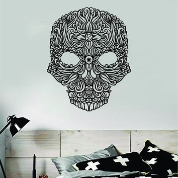 Floral Skull V2 Wall Decal Home Decor Bedroom Room Vinyl Sticker Art Kids Sugarskull Flowers Tattoo Teen