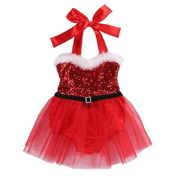 Newborn Baby Girl Rompers Dress Clothes Santa Claus Sequin Jumpsuit Christmas Outfits Costume Bebes Clothes