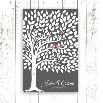 Guest Book Alternative - Wedding Guest Book Poster with 175 Leaves - Modern Wedding Guest Book in Grey