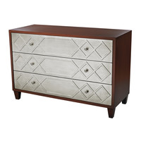 Ginsburg Chest With 3 Drawers in Cherry and Silver