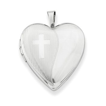 Sterling Silver Rhodium-Plated 20mm Heart Locket w/Cross Pendant Necklace, w/18-Inch Chain