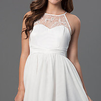 Short Sleeveless Dress with Lace Detailing
