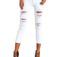 White Skinny Cropped Destroyed Boyfriend Jeans - White Denim