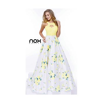 Long Evening Formal Gown Yellow Floral Print Keyhole Lace Bodice