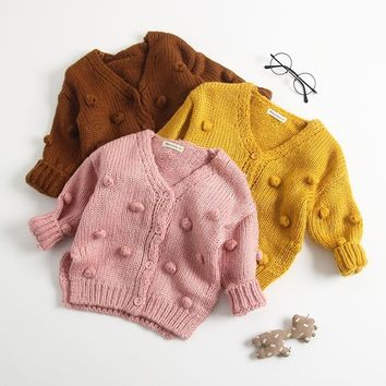 Autumn Newborn baby girl clothes winter Handmade Pom Pom V Neck sweater baby boy Cotton baby knitted clothes Toddler sweaters