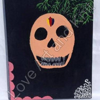 canvas acrylic painting, Day of the dead skull, size 24 x 30 cm, original painting, acrylic painting,