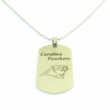Hot Selling Silver Stainless Steel Sport Carolina Panthers Football Team Logo Dog Tag Necklace Pendants 3pcs/lot