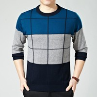 Round-neck Long Sleeve Knit Tops Sweater Casual Men Bottoming Shirt [6544388035]