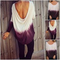 Gradually Changing Colors Backless Loose Long Sleeves Blouse