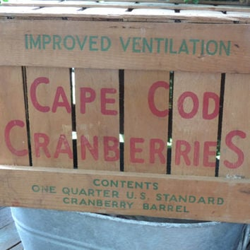 Vintage Cape Cod Cranberries Wood Crate Country Cottage Cranberry Barrel Country Farmhouse Cape Cod Cranberry Crate Industrial Vintage