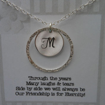 Friendship Necklace, Eternity Necklace, Personalized Initial Necklace, Best Friend Gift, Sterling Silver Eternity Necklace, Bridesmaid Gift