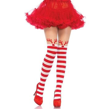 Hot Holiday Red White Horizontal Stripe Pattern Reindeer Tights Stockings Hosiery