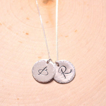 Couples jewelry, personalized initial necklace, two custom initials, sterling silver monogram necklace, large hammered initial pendant