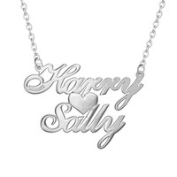 Custom Two Name Love Necklace Personalized Silver Carrie Style Name plate Necklace with Heart Fashion  Necklace for Women
