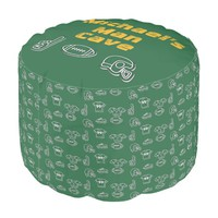 Man Cave Football Sports Team Personalized Green Pouf