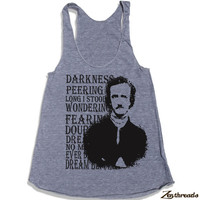 Womens Edgar Allan POE american apparel Tri-Blend Racerback Tank Top S M L (8 Color Options)