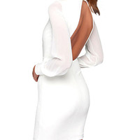 Semi-Sheer Sleeves Open Back Bodycon Dress