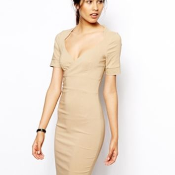 Vesper Angelina Pencil Dress with Wrap Front - Oatmeal