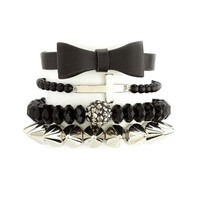 BOW, CROSS & SPIKES BRACELET SET