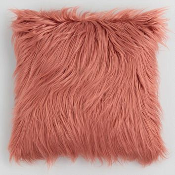 Dark Coral Mongolian Faux Fur Throw Pillow