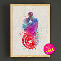 Captain America Watercolor Art Print Superhero Avengers Poster House Wear Wall Decor Gift Linen Print - Buy 2 Get FREE - 36s2g