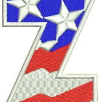 Z Alphabet Letters of US Flag Iron on Small Patch for Biker Vest