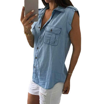 Blue Jean Denim Women Lady Tops Casual Sleeveless Blue Shirts Pocket Brief Tops Outwear Clothing Vest SM6