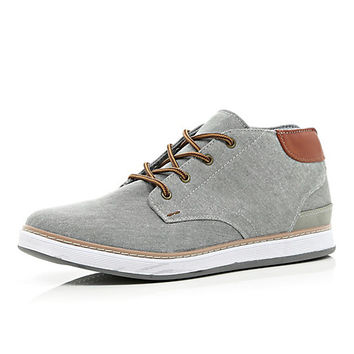 River Island MensGrey canvas mid tops