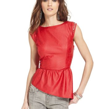 GUESS Studded Faux-Leather Top