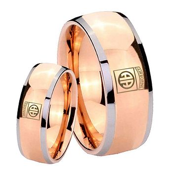 His Hers Rose Gold Dome Army Airborn Two Tone Tungsten Wedding Rings Set