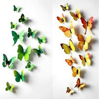 ( 12 pcs / pack ) 3D wall stickers butterfly fridge magnet wedding decoration home decor [8403278535]