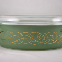 Pyrex Promo Green Scroll (Sage Scroll) 2.5 quart Oval Casserole-1962