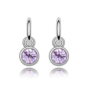 4 Colors Real Austrian Crystals 18K Gold Plated Fashion Dangle earrings for women New Sale Hot Brand Vintage 90447Violet