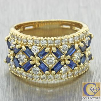 Modern Estate EFFY 14k Yellow Gold 1.80ctw Diamond Sapphire 6mm Wide Band Ring